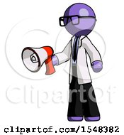 Purple Doctor Scientist Man Holding Megaphone Bullhorn Facing Right