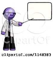 Purple Doctor Scientist Man Giving Presentation In Front Of Dry Erase Board