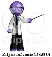 Purple Doctor Scientist Man Teacher Or Conductor With Stick Or Baton Directing