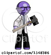 Purple Doctor Scientist Man With Sledgehammer Standing Ready To Work Or Defend