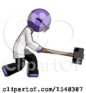 Purple Doctor Scientist Man Hitting With Sledgehammer Or Smashing Something