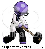 Purple Doctor Scientist Man Hitting With Sledgehammer Or Smashing Something At Angle