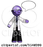 Purple Doctor Scientist Man With Word Bubble Talking Chat Icon
