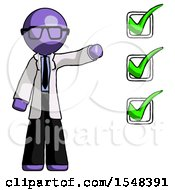 Purple Doctor Scientist Man Standing By List Of Checkmarks