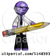 Purple Doctor Scientist Man Writer Or Blogger Holding Large Pencil