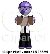 Poster, Art Print Of Purple Doctor Scientist Man Reading Book While Standing Up Facing Viewer