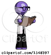 Poster, Art Print Of Purple Doctor Scientist Man Reading Book While Standing Up Facing Away