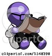 Poster, Art Print Of Purple Doctor Scientist Man Reading Book While Sitting Down