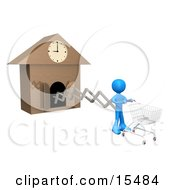 White Figure Pushing An Empty Shopping Cart On The End Of A Cuckoo Clock Arm Symbolizing A Special Sales Promotion That Starts At A Certain Time Or A Person On A Schedule