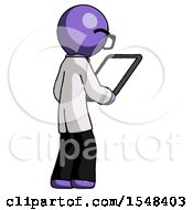 Purple Doctor Scientist Man Looking At Tablet Device Computer Facing Away