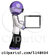 Purple Doctor Scientist Man Show Tablet Device Computer To Viewer Blank Area