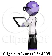 Purple Doctor Scientist Man Looking At Tablet Device Computer With Back To Viewer