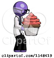 Purple Doctor Scientist Man Holding Large Cupcake Ready To Eat Or Serve