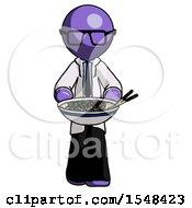 Purple Doctor Scientist Man Serving Or Presenting Noodles
