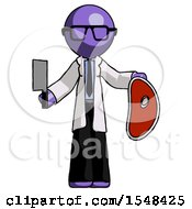 Purple Doctor Scientist Man Holding Large Steak With Butcher Knife