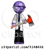 Purple Doctor Scientist Man Holding Red Fire Fighters Ax