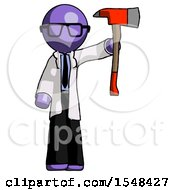 Purple Doctor Scientist Man Holding Up Red Firefighters Ax
