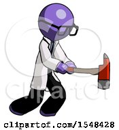 Purple Doctor Scientist Man With Ax Hitting Striking Or Chopping