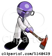 Purple Doctor Scientist Man Striking With A Red Firefighters Ax
