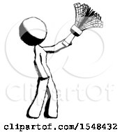 Ink Design Mascot Woman Dusting With Feather Duster Upwards