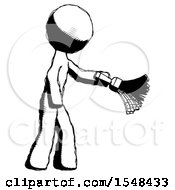 Ink Design Mascot Man Dusting With Feather Duster Downwards