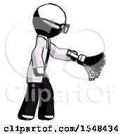 Ink Doctor Scientist Man Dusting With Feather Duster Downwards