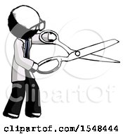 Ink Doctor Scientist Man Holding Giant Scissors Cutting Out Something