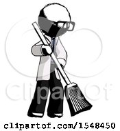 Ink Doctor Scientist Man Sweeping Area With Broom