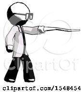 Ink Doctor Scientist Man Pointing With Hiking Stick