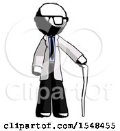 Ink Doctor Scientist Man Standing With Hiking Stick