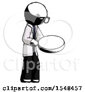 Ink Doctor Scientist Man Looking At Large Compass Facing Right