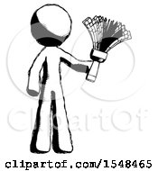 Ink Design Mascot Man Holding Feather Duster Facing Forward