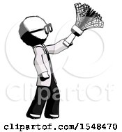 Ink Doctor Scientist Man Dusting With Feather Duster Upwards