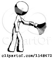 Ink Design Mascot Woman Dusting With Feather Duster Downwards