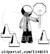 Ink Doctor Scientist Man Holding Stop Sign By Traffic Cones Under Construction Concept
