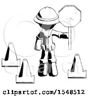 Ink Explorer Ranger Man Holding Stop Sign By Traffic Cones Under Construction Concept