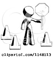 Ink Design Mascot Woman Holding Stop Sign By Traffic Cones Under Construction Concept