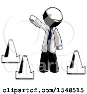 Ink Doctor Scientist Man Standing By Traffic Cones Waving