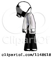 Ink Doctor Scientist Man Depressed With Head Down Turned Left