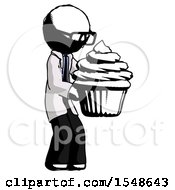 Ink Doctor Scientist Man Holding Large Cupcake Ready To Eat Or Serve