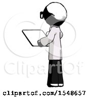 Ink Doctor Scientist Man Looking At Tablet Device Computer With Back To Viewer