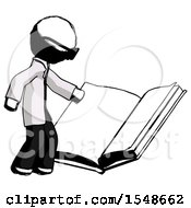 Poster, Art Print Of Ink Doctor Scientist Man Reading Big Book While Standing Beside It