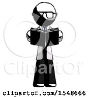 Poster, Art Print Of Ink Doctor Scientist Man Reading Book While Standing Up Facing Viewer