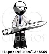 Ink Doctor Scientist Man Writer Or Blogger Holding Large Pencil