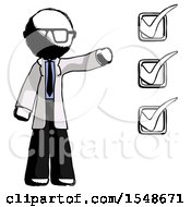 Ink Doctor Scientist Man Standing By List Of Checkmarks