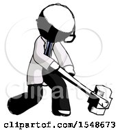 Ink Doctor Scientist Man Hitting With Sledgehammer Or Smashing Something At Angle
