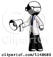 Ink Doctor Scientist Man Holding Megaphone Bullhorn Facing Right
