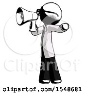 Ink Doctor Scientist Man Shouting Into Megaphone Bullhorn Facing Left