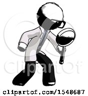 Ink Doctor Scientist Man Inspecting With Large Magnifying Glass Right
