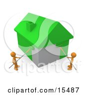 Two Orange People Using Roller Brushes To Paint A Home Green Symbolizing Upgrading A Home To Be More Energy Efficient Clipart Illustration Image